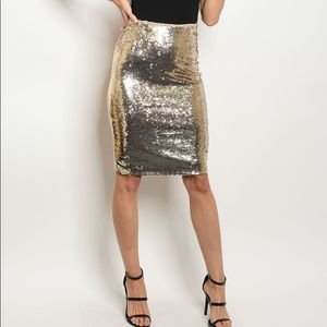 Dresses & Skirts - Sequin Gold Front Pencil Skirt